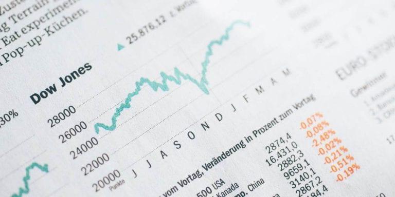 Newspaper showing Dow Jones Index